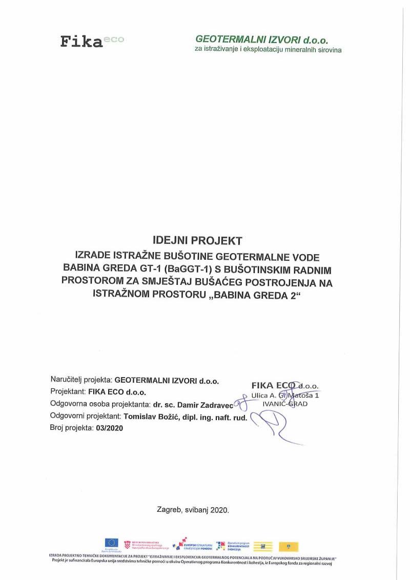 Idejni projekt za izradu istražne bušotine geotermalne vode Babina Greda GT-1