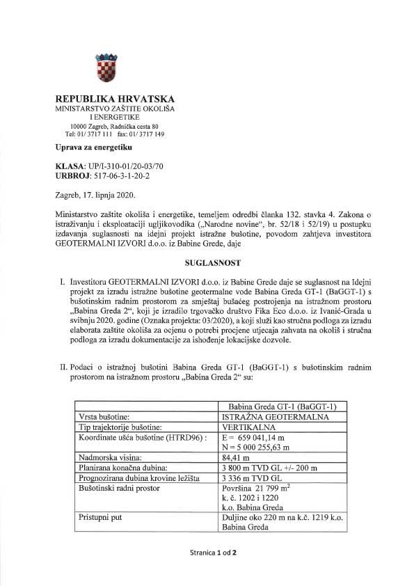 Suglasnost na Idejni projekt za izradu istražne bušotine geotermalne vode Babina Greda