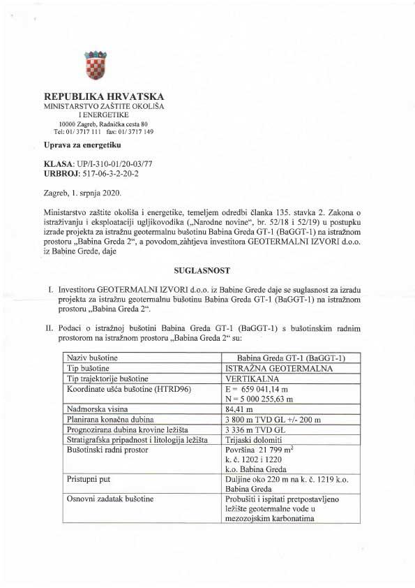 Suglasnost za izradu projekta za istražnu geotermalnu bušotinu Babina Greda GT-1